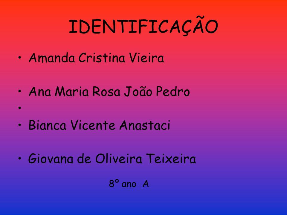 IDENTIFICAÇÃO Amanda Cristina Vieira Ana Maria Rosa João Pedro Bianca Vicente Anastaci Giovana de Oliveira Teixeira 8º ano A