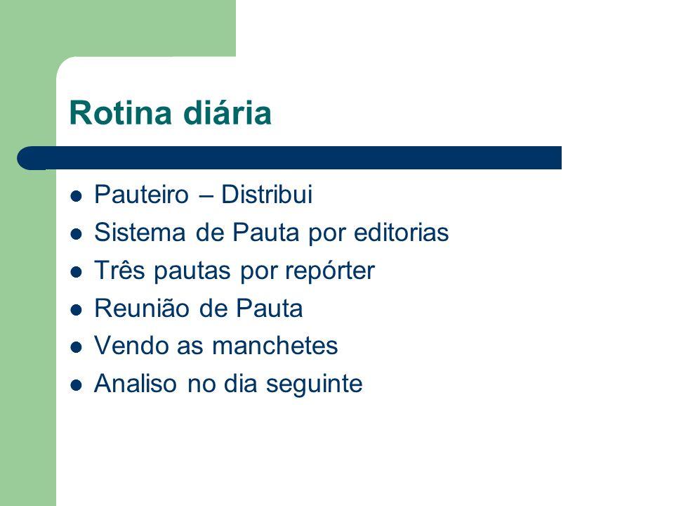 Rotina diária Pauteiro – Distribui Sistema de Pauta por editorias Três pautas por repórter Reunião de Pauta Vendo as manchetes Analiso no dia seguinte