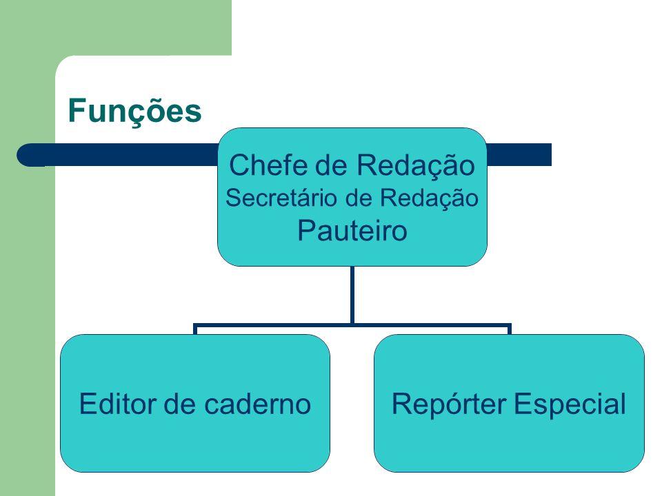 Funções Chefe de Redação Secretário de Redação Pauteiro Editor de cadernoRepórter Especial