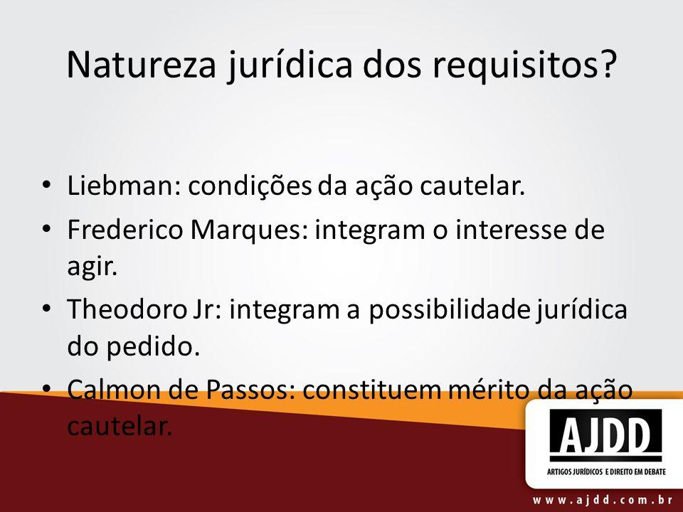 Natureza jurídica dos requisitos. Liebman: condições da ação cautelar.