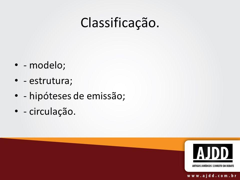 Classificação. - modelo; - estrutura; - hipóteses de emissão; - circulação.