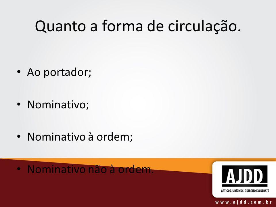 Quanto a forma de circulação. Ao portador; Nominativo; Nominativo à ordem; Nominativo não à ordem.