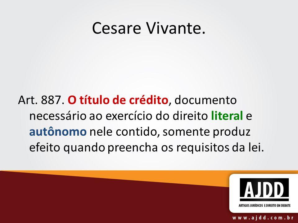 Cesare Vivante. Art. 887.