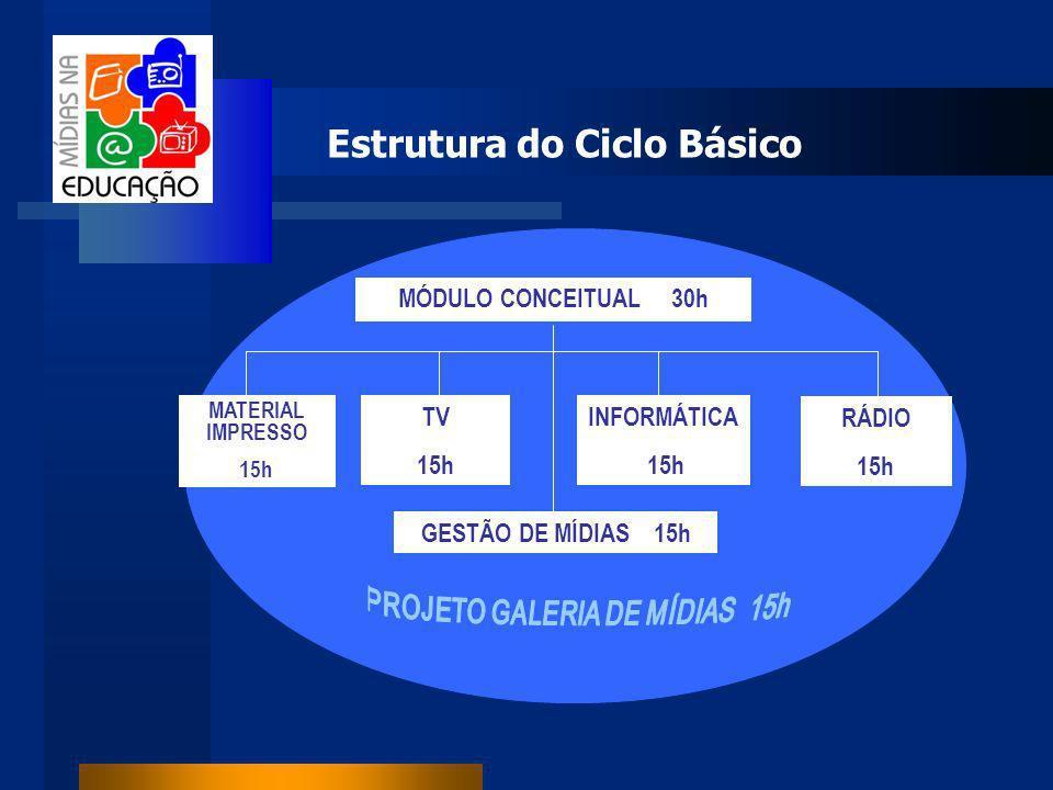 Estrutura do Ciclo Básico MÓDULO CONCEITUAL 30h MATERIAL IMPRESSO 15h GESTÃO DE MÍDIAS 15h TV 15h INFORMÁTICA 15h RÁDIO 15h
