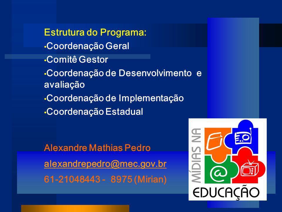 Estrutura do Programa: Coordenação Geral Comitê Gestor Coordenação de Desenvolvimento e avaliação Coordenação de Implementação Coordenação Estadual Alexandre Mathias Pedro alexandrepedro@mec.gov.br 61-21048443 - 8975 (Mirian)