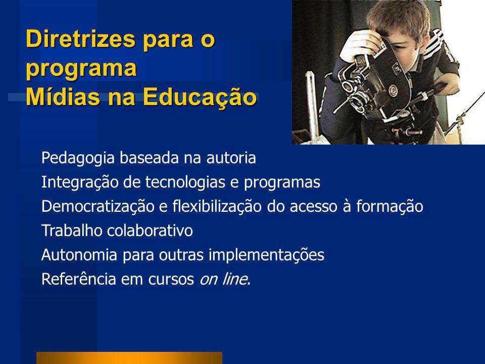 Diretrizes para o programa Mídias na Educação Pedagogia baseada na autoria Integração de tecnologias e programas Democratização e flexibilização do acesso à formação Trabalho colaborativo Autonomia para outras implementações Referência em cursos on line.