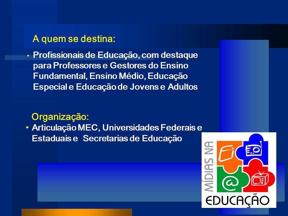 A quem se destina: Profissionais de Educação, com destaque para Professores e Gestores do Ensino Fundamental, Ensino Médio, Educação Especial e Educação de Jovens e Adultos Organização: Articulação MEC, Universidades Federais e Estaduais e Secretarias de Educação