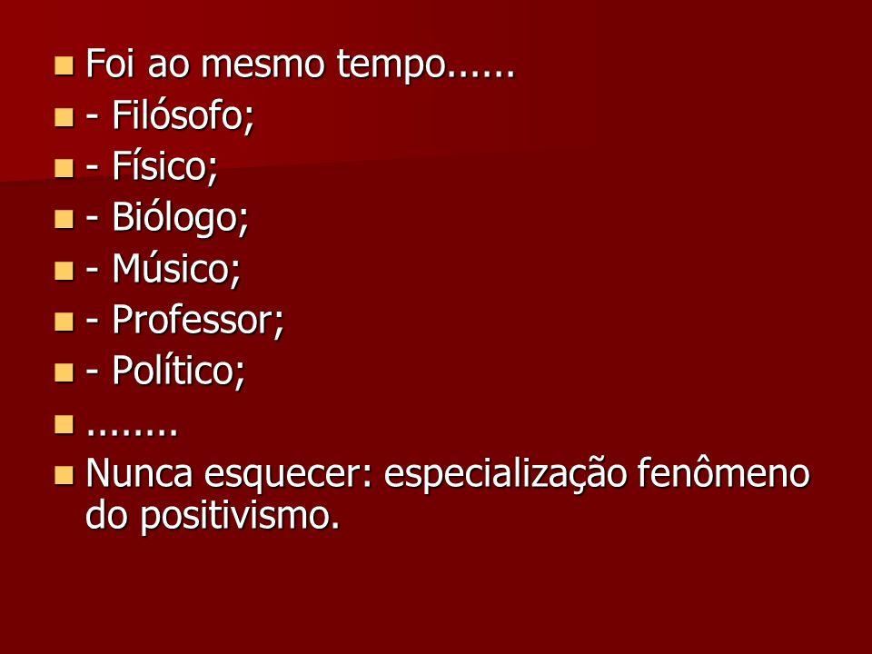 Foi ao mesmo tempo...... Foi ao mesmo tempo...... - Filósofo; - Filósofo; - Físico; - Físico; - Biólogo; - Biólogo; - Músico; - Músico; - Professor; -