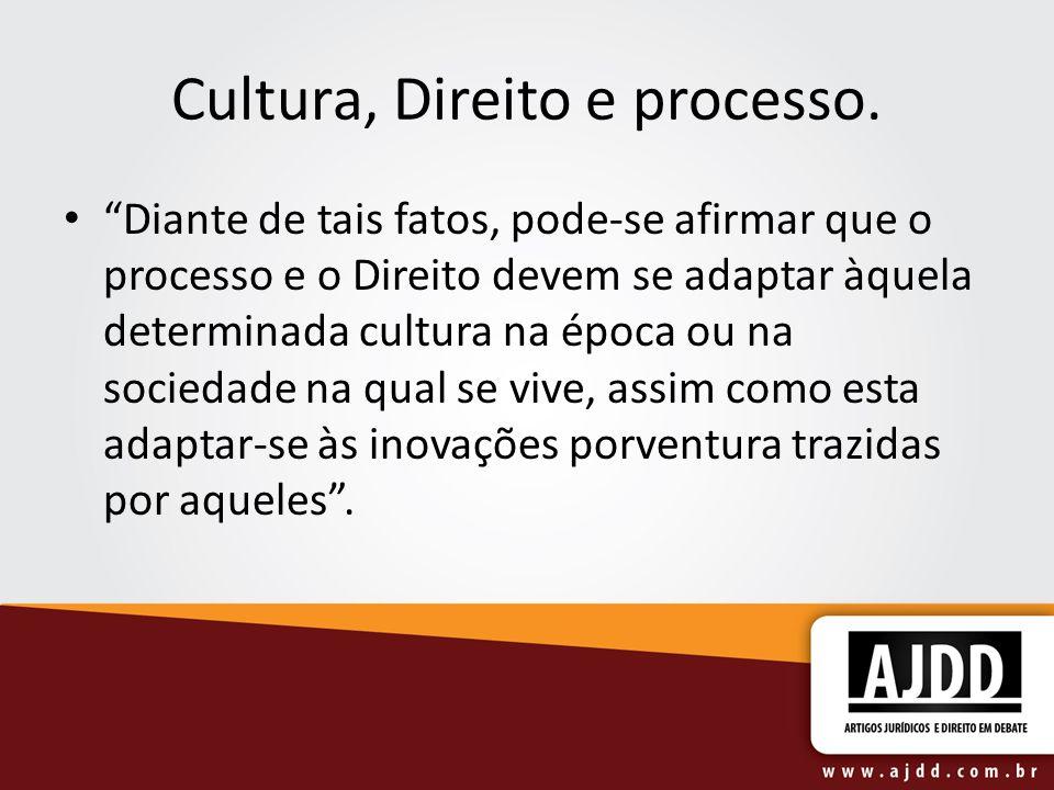 Cultura, Direito e processo. Diante de tais fatos, pode-se afirmar que o processo e o Direito devem se adaptar àquela determinada cultura na época ou