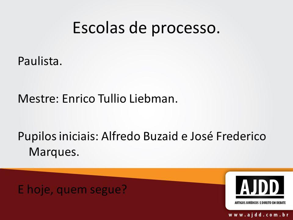 Escolas de processo. Paulista. Mestre: Enrico Tullio Liebman. Pupilos iniciais: Alfredo Buzaid e José Frederico Marques. E hoje, quem segue?