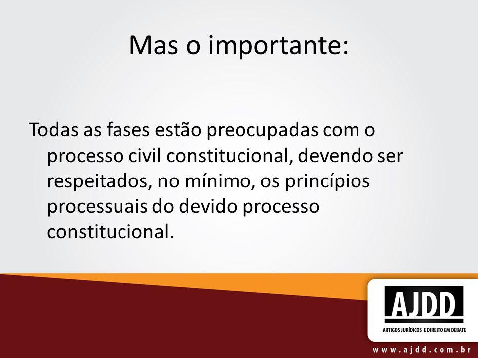 Mas o importante: Todas as fases estão preocupadas com o processo civil constitucional, devendo ser respeitados, no mínimo, os princípios processuais