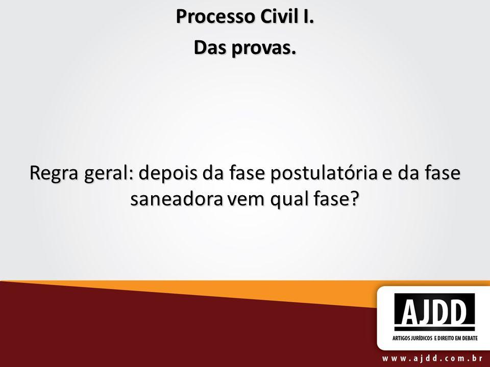 Processo Civil I. Das provas. Regra geral: depois da fase postulatória e da fase saneadora vem qual fase?
