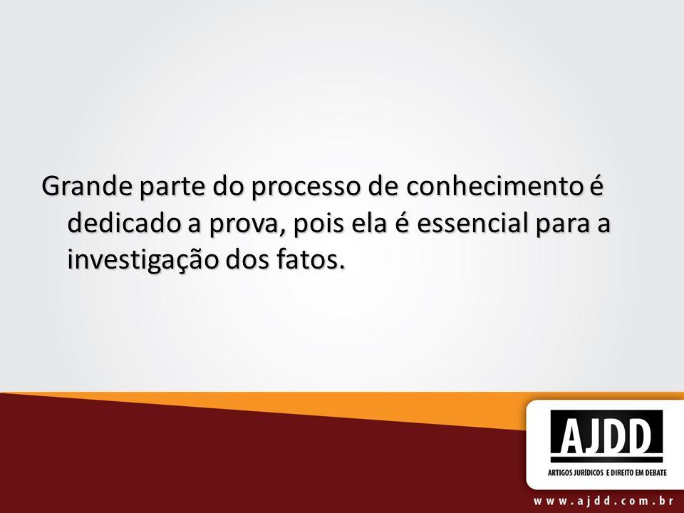 Grande parte do processo de conhecimento é dedicado a prova, pois ela é essencial para a investigação dos fatos.