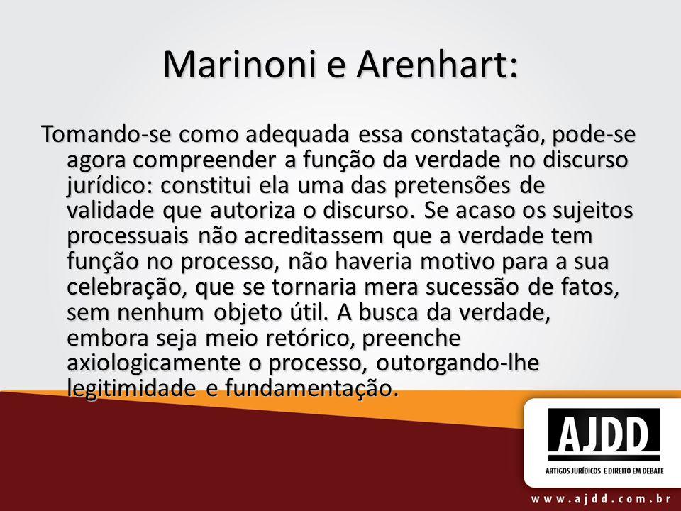 Marinoni e Arenhart: Tomando-se como adequada essa constatação, pode-se agora compreender a função da verdade no discurso jurídico: constitui ela uma
