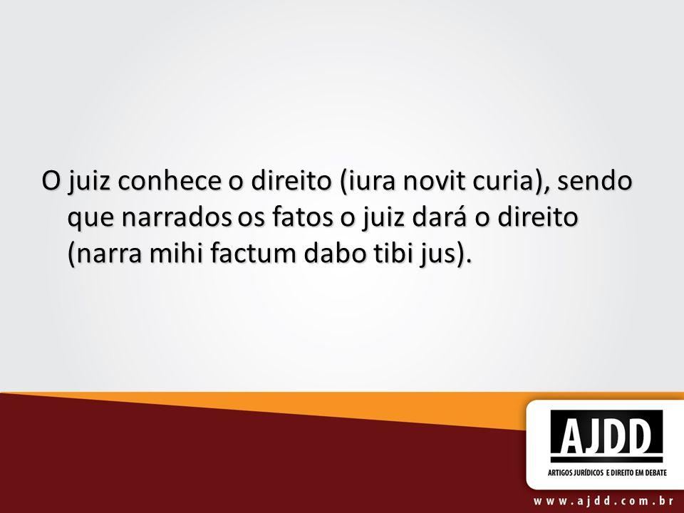 O juiz conhece o direito (iura novit curia), sendo que narrados os fatos o juiz dará o direito (narra mihi factum dabo tibi jus).