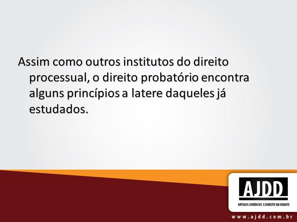 Assim como outros institutos do direito processual, o direito probatório encontra alguns princípios a latere daqueles já estudados.