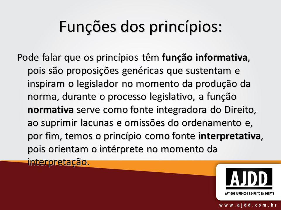 Funções dos princípios: Pode falar que os princípios têm função informativa, pois são proposições genéricas que sustentam e inspiram o legislador no m