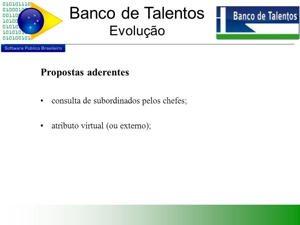 Banco de Talentos Evolução Propostas aderentes consulta de subordinados pelos chefes; atributo virtual (ou externo);