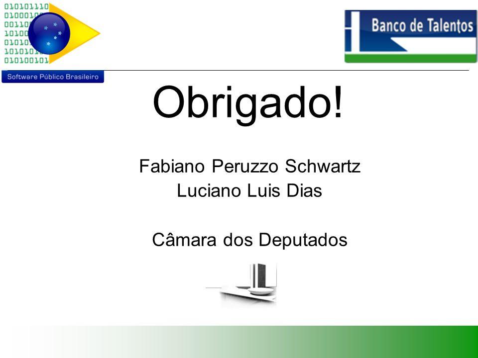 Obrigado! Fabiano Peruzzo Schwartz Luciano Luis Dias Câmara dos Deputados