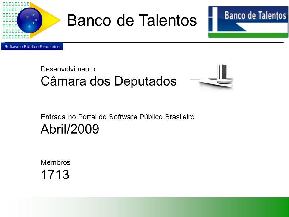 Banco de Talentos Desenvolvimento Câmara dos Deputados Entrada no Portal do Software Público Brasileiro Abril/2009 Membros 1713