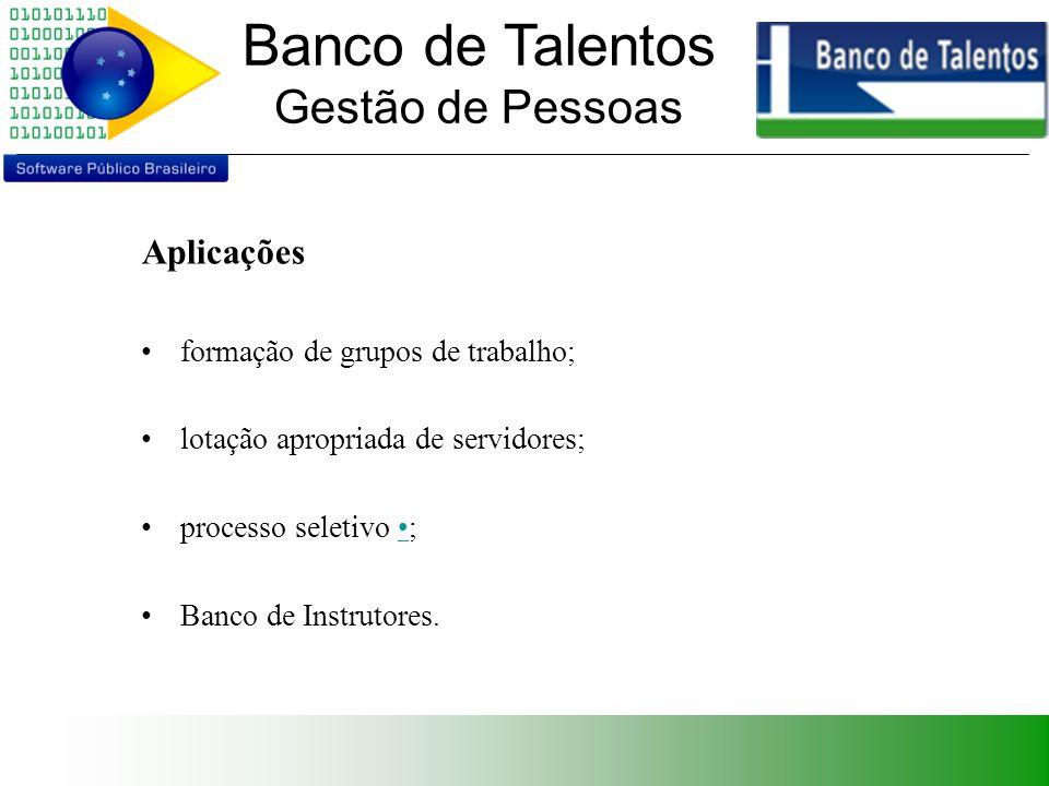 Banco de Talentos Gestão de Pessoas Aplicações formação de grupos de trabalho; lotação apropriada de servidores; processo seletivo ; Banco de Instrutores.