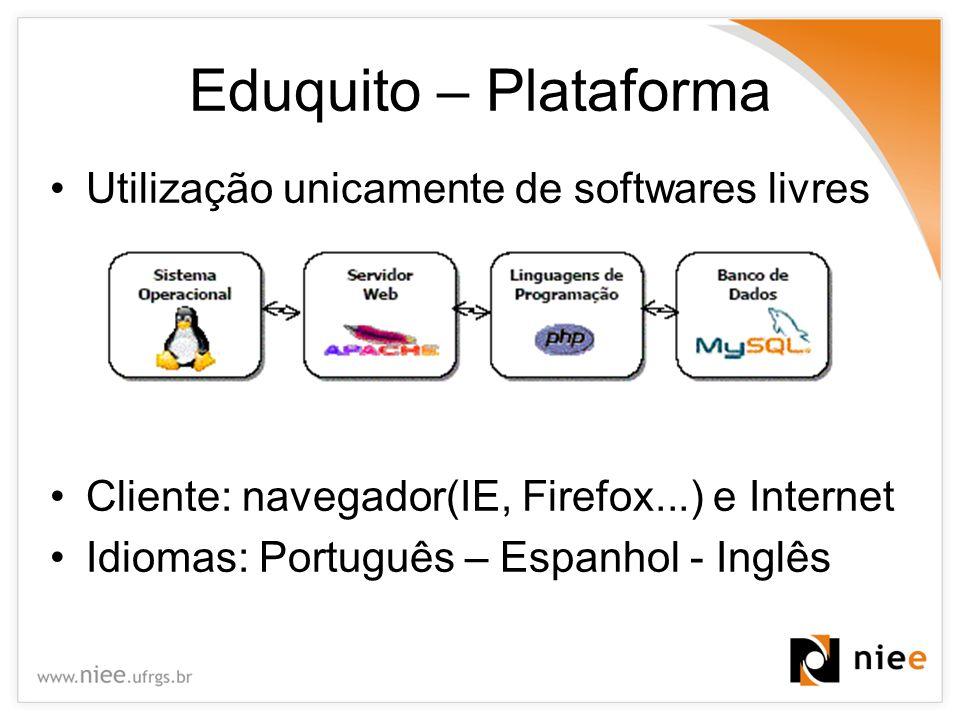 Eduquito – Plataforma Utilização unicamente de softwares livres Cliente: navegador(IE, Firefox...) e Internet Idiomas: Português – Espanhol - Inglês