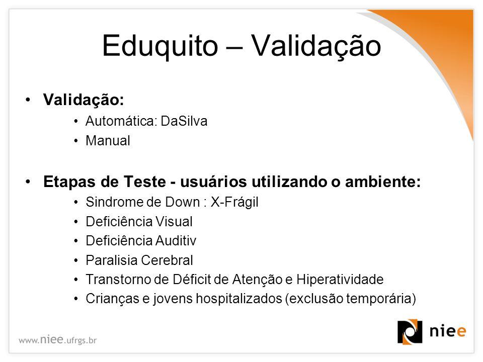 Eduquito – Validação Validação: Automática: DaSilva Manual Etapas de Teste - usuários utilizando o ambiente: Sindrome de Down : X-Frágil Deficiência V