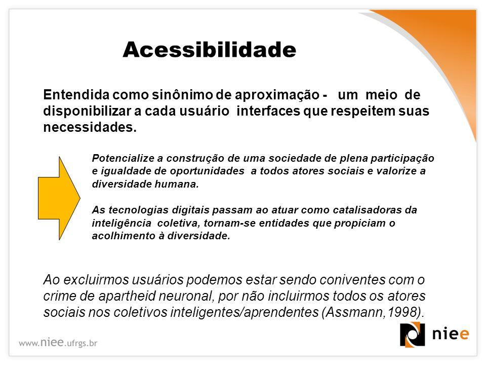 Considerações finais O ambiente proposto, com acessibilidade a PNE, apresenta-se como uma alternativa para o processo de redução da exclusão digital em nossa sociedade Modelos de construção/utilização de espaços digitais/virtuais acessíveis a todos.