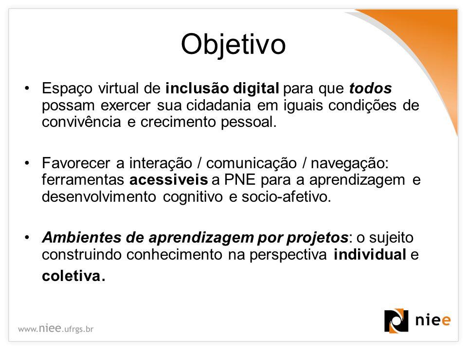 Objetivo Espaço virtual de inclusão digital para que todos possam exercer sua cidadania em iguais condições de convivência e crecimento pessoal. Favor