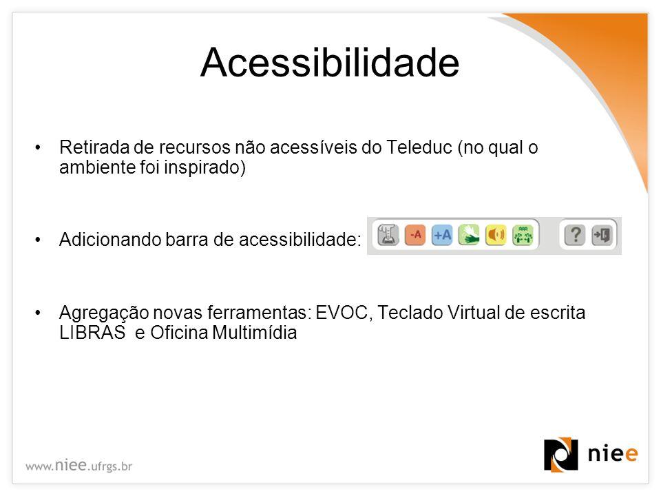 Acessibilidade Retirada de recursos não acessíveis do Teleduc (no qual o ambiente foi inspirado) Adicionando barra de acessibilidade: Agregação novas
