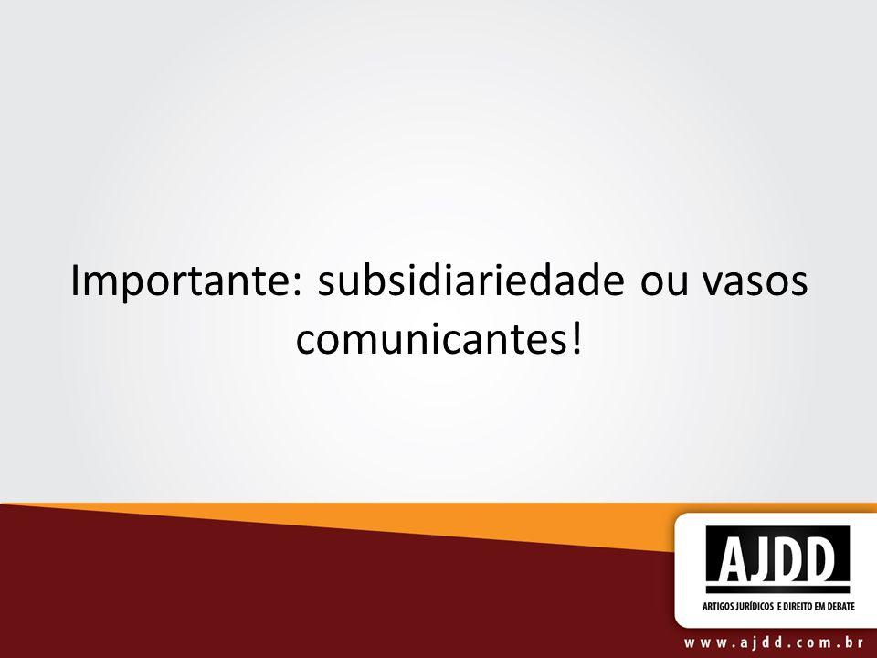 Importante: subsidiariedade ou vasos comunicantes!