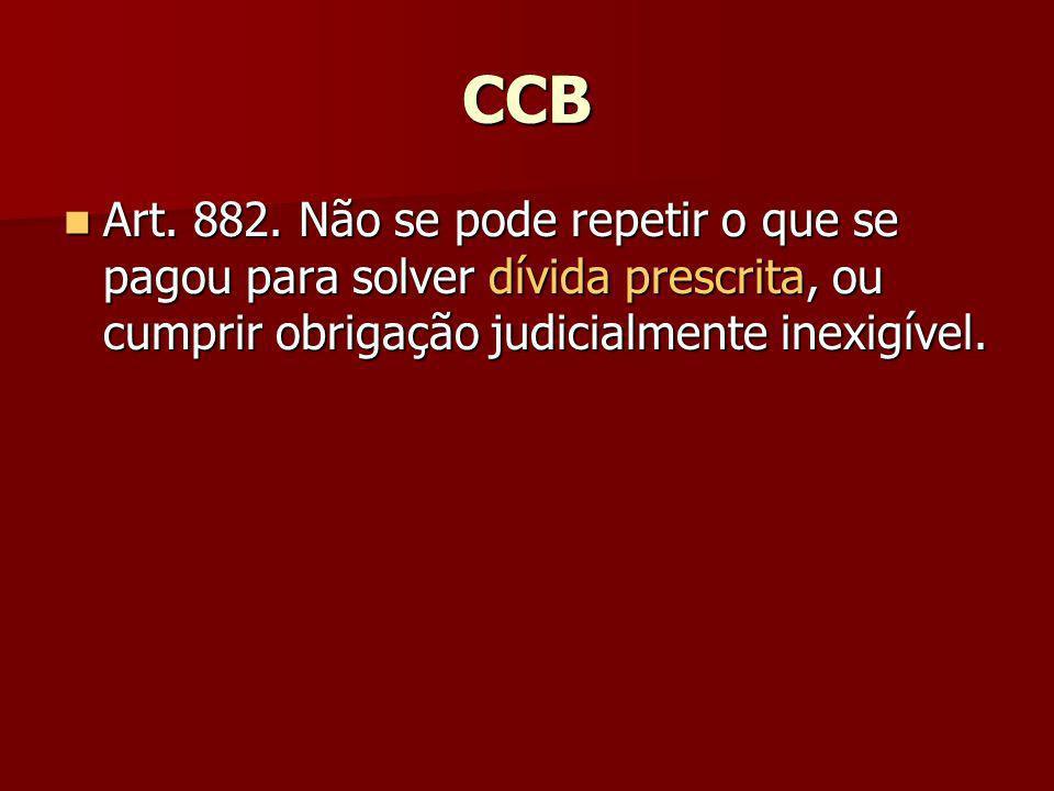 CCB Art. 882. Não se pode repetir o que se pagou para solver dívida prescrita, ou cumprir obrigação judicialmente inexigível. Art. 882. Não se pode re