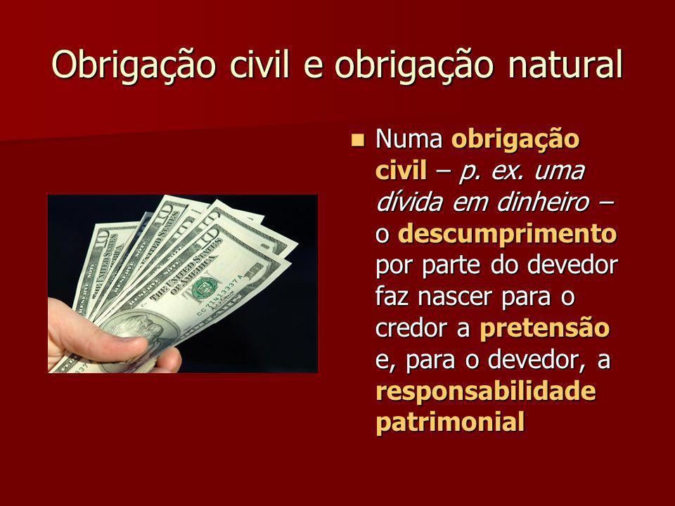 Obrigação civil e obrigação natural Numa obrigação civil – p. ex. uma dívida em dinheiro – o descumprimento por parte do devedor faz nascer para o cre