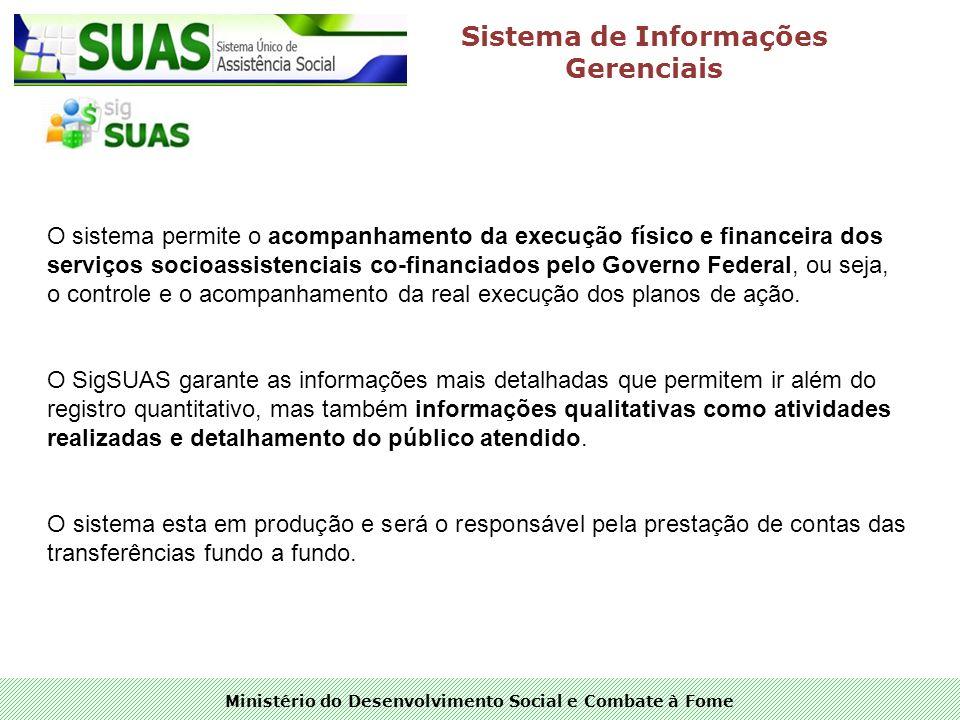 Ministério do Desenvolvimento Social e Combate à Fome Sistema de Informações Gerenciais O sistema permite o acompanhamento da execução físico e financ