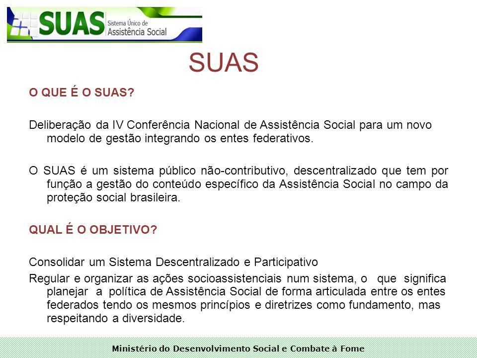 Ministério do Desenvolvimento Social e Combate à Fome SUAS O QUE É O SUAS? Deliberação da IV Conferência Nacional de Assistência Social para um novo m