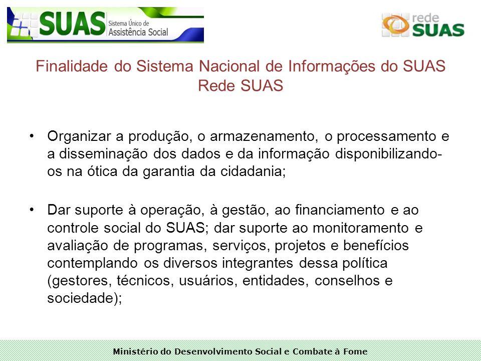 Ministério do Desenvolvimento Social e Combate à Fome Finalidade do Sistema Nacional de Informações do SUAS Rede SUAS Organizar a produção, o armazena