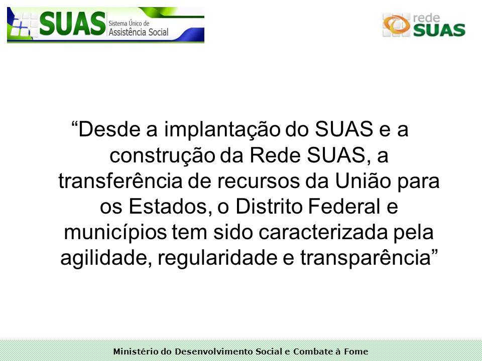Ministério do Desenvolvimento Social e Combate à Fome Desde a implantação do SUAS e a construção da Rede SUAS, a transferência de recursos da União pa