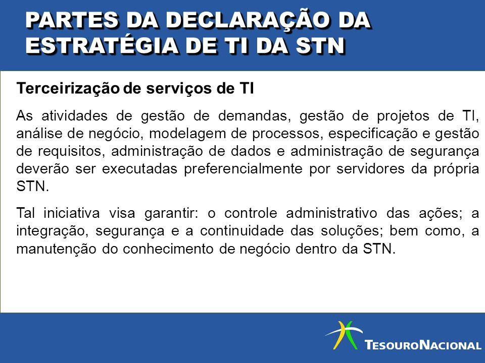 PARTES DA DECLARAÇÃO DA ESTRATÉGIA DE TI DA STN Terceirização de serviços de TI As atividades de gestão de demandas, gestão de projetos de TI, análise