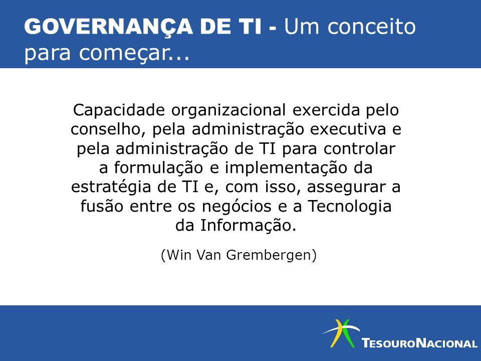 GOVERNANÇA DE TI - Um conceito para começar... Capacidade organizacional exercida pelo conselho, pela administração executiva e pela administração de