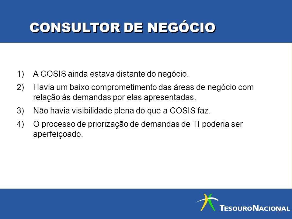 CONSULTOR DE NEGÓCIO 28 1)A COSIS ainda estava distante do negócio. 2)Havia um baixo comprometimento das áreas de negócio com relação às demandas por