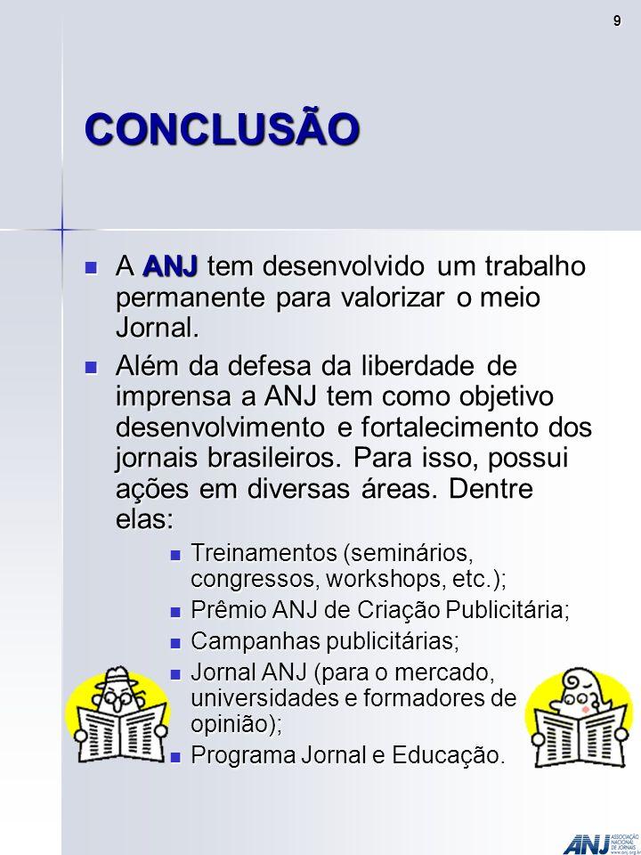 CONCLUSÃO A ANJ tem desenvolvido um trabalho permanente para valorizar o meio Jornal.