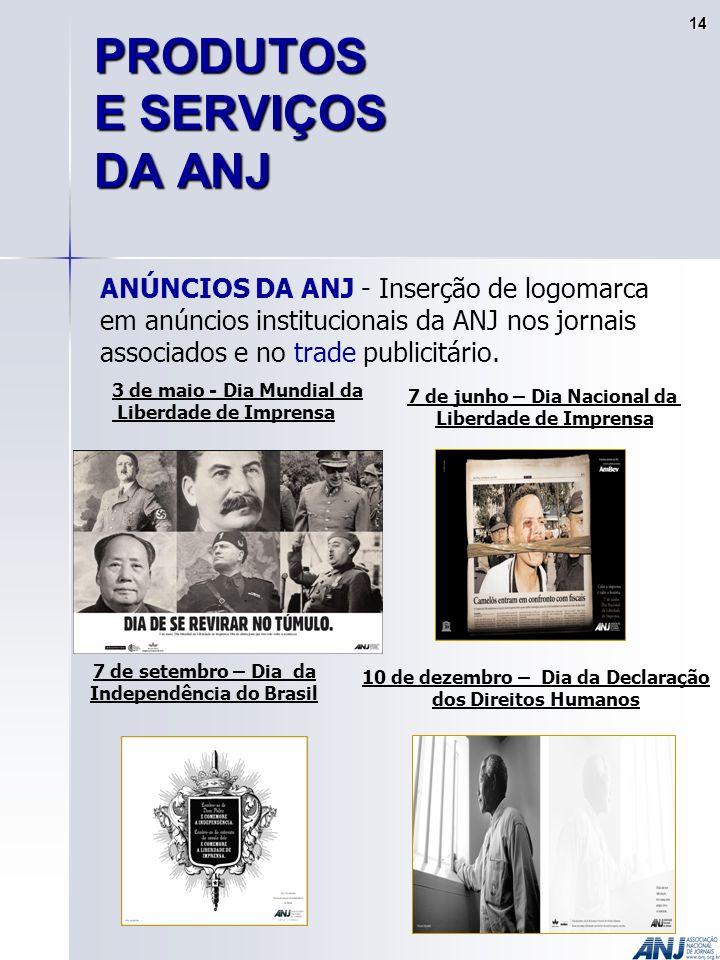 ANÚNCIOS DA ANJ - Inserção de logomarca em anúncios institucionais da ANJ nos jornais associados e no trade publicitário.