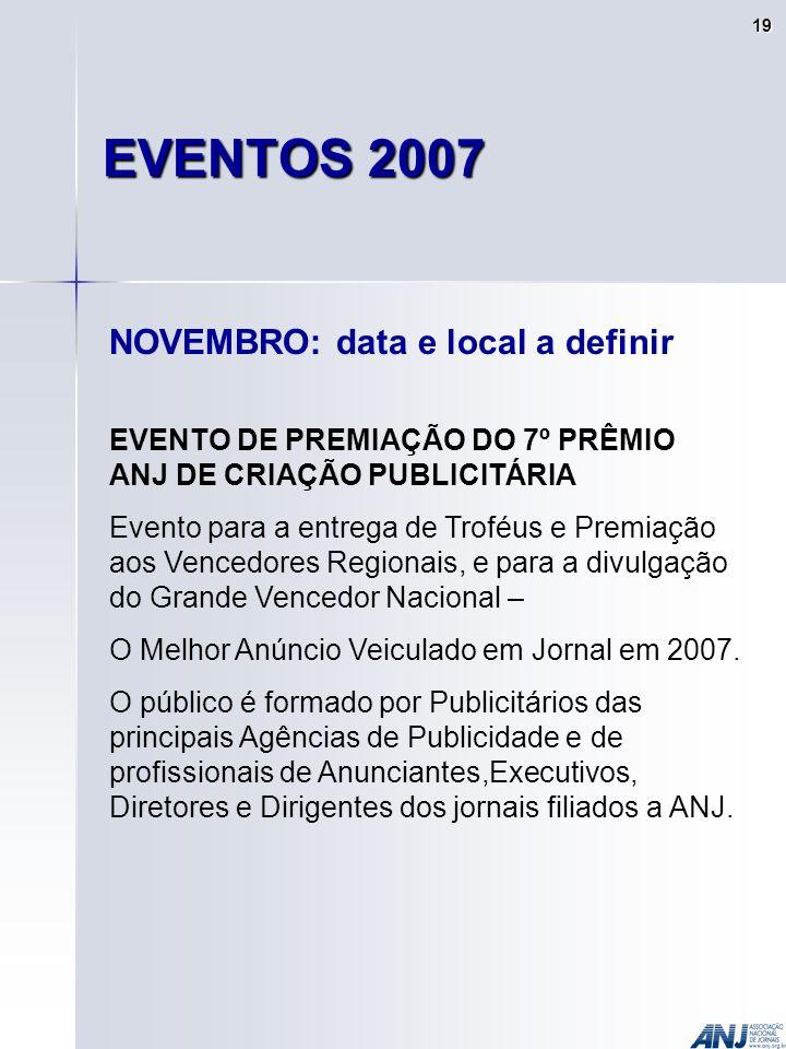 NOVEMBRO: data e local a definir EVENTO DE PREMIAÇÃO DO 7º PRÊMIO ANJ DE CRIAÇÃO PUBLICITÁRIA Evento para a entrega de Troféus e Premiação aos Vencedores Regionais, e para a divulgação do Grande Vencedor Nacional – O Melhor Anúncio Veiculado em Jornal em 2007.