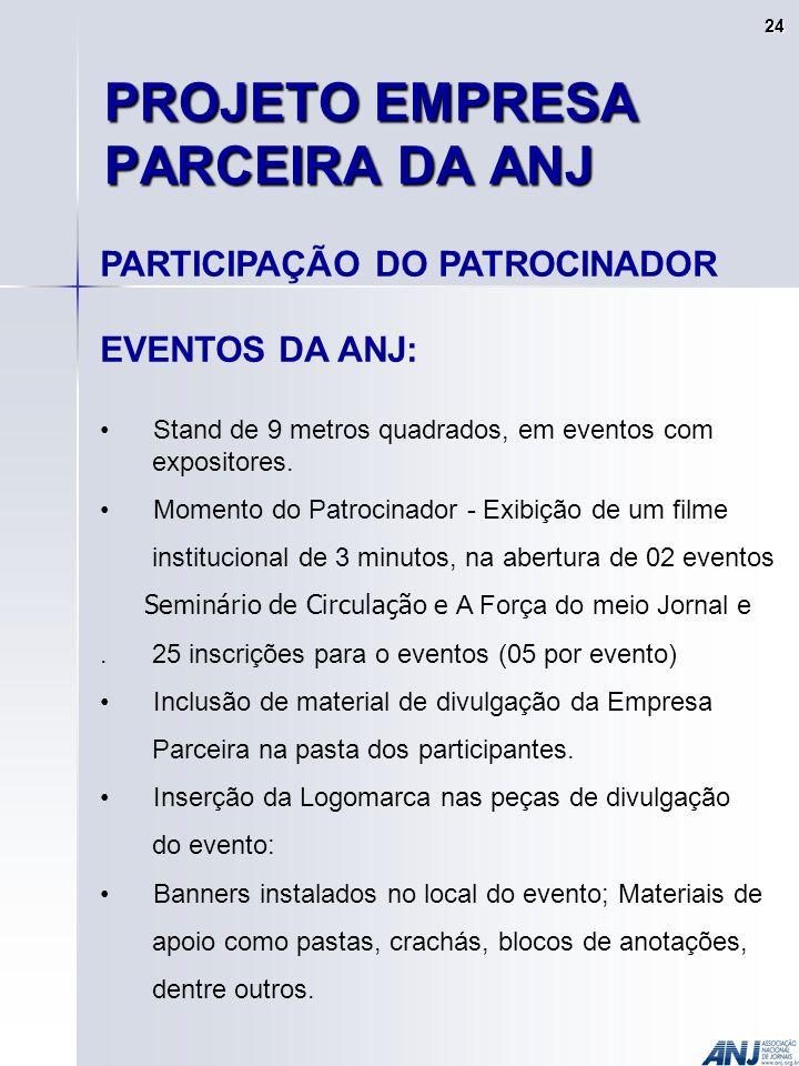 PROJETO EMPRESA PARCEIRA DA ANJ PARTICIPAÇÃO DO PATROCINADOR EVENTOS DA ANJ: Stand de 9 metros quadrados, em eventos com expositores.