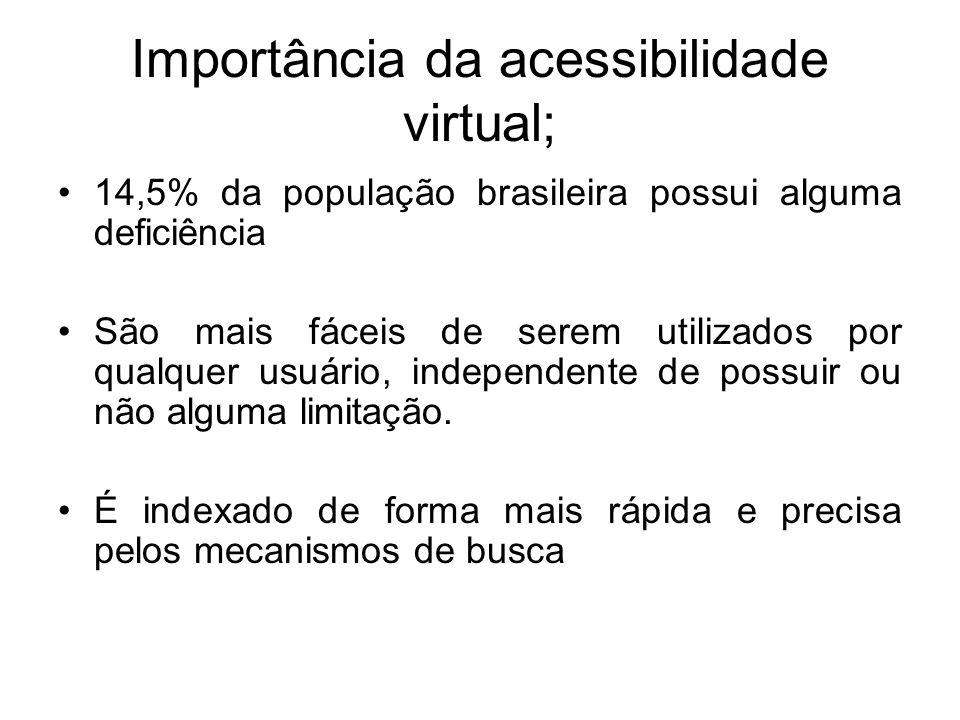 Importância da acessibilidade virtual; 14,5% da população brasileira possui alguma deficiência São mais fáceis de serem utilizados por qualquer usuári