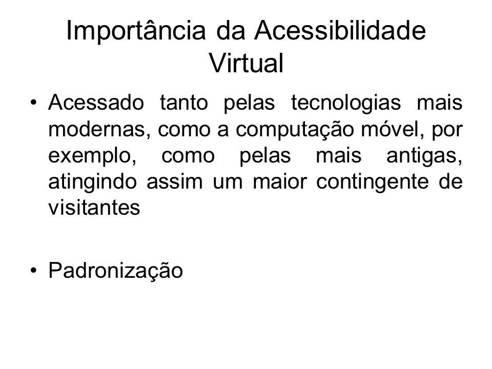 Importância da Acessibilidade Virtual Acessado tanto pelas tecnologias mais modernas, como a computação móvel, por exemplo, como pelas mais antigas, a