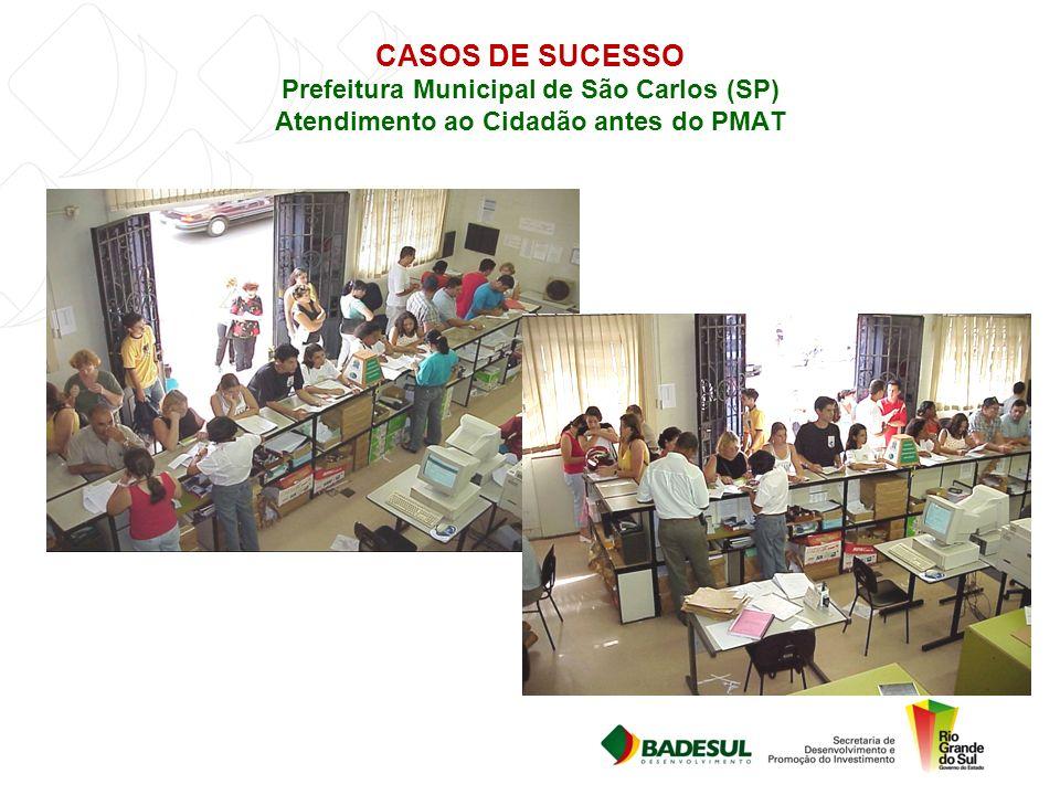 CASOS DE SUCESSO Prefeitura Municipal de São Carlos (SP) Atendimento ao Cidadão antes do PMAT