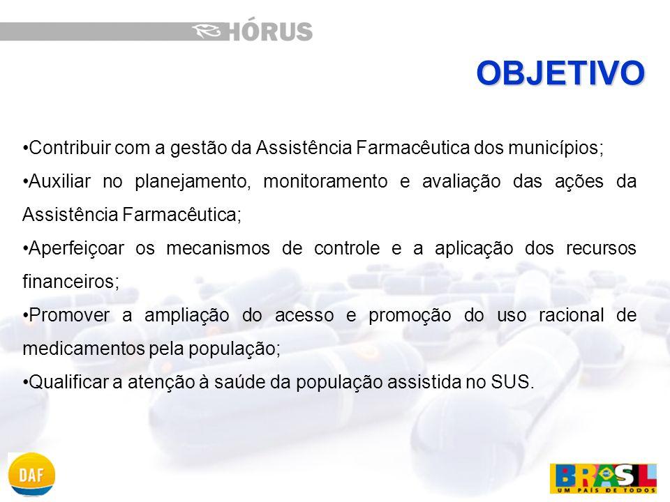 VISÃO GERAL Acompanhar e avaliar a utilização dos medicamentos pela população Controlar o fluxo de medicamentos no município Conhecer o custo dos medicamentos