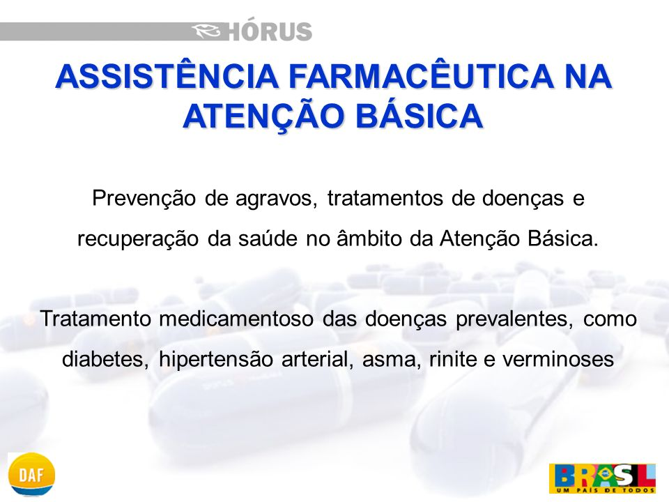 AF Básica é descentralizada, cabendo ao gestor municipal, com o apoio do gestor estadual, planejar e executar cada uma das etapas da AF (programação, aquisição, armazenamento, distribuição e dispensação de medicamentos).