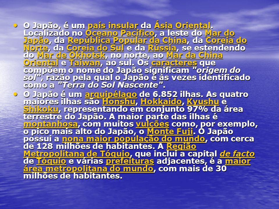 O Japão, é um país insular da Ásia Oriental. Localizado no Oceano Pacífico, a leste do Mar do Japão, da República Popular da China, da Coreia do Norte